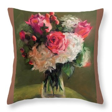 Bridal Bouquet Throw Pillow by Pam Talley