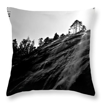 Bridal Veil Falls In Black And White Throw Pillow