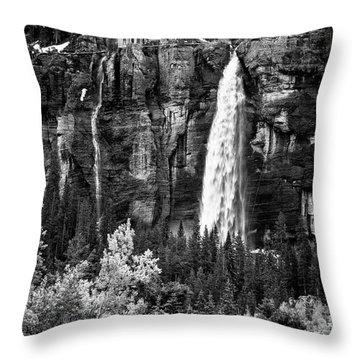 Bridal Veil Falls In Bw Throw Pillow