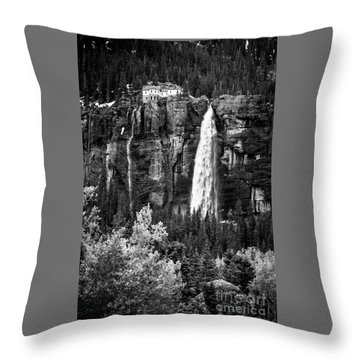 Bridal Veil Falls In Bw Throw Pillow