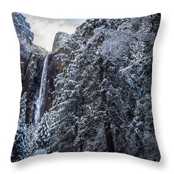 Bridal Veil Falls In Winter Throw Pillow