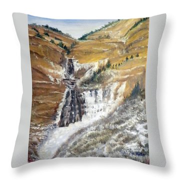 Bridal Veil Falls In Winter Throw Pillow by Sherril Porter