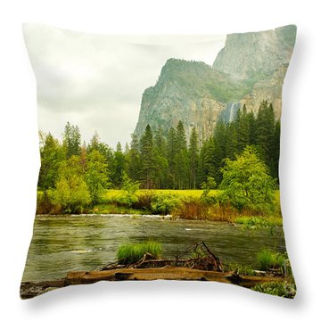 Bridal Veil Falls In Yosemite National Park Throw Pillow by MaryJane Armstrong