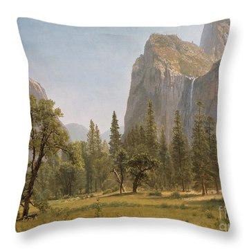 Bridal Veil Falls Yosemite Valley California Throw Pillow