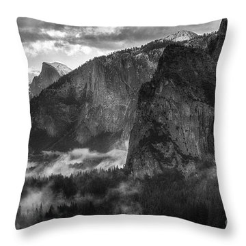 Bridalvail Falls And Half Dome Throw Pillow