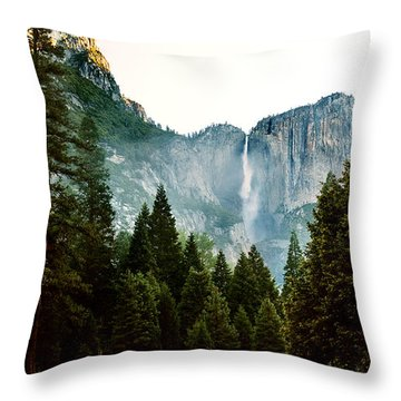 Bridalveil Falls In Yosemite Throw Pillow by MaryJane Armstrong