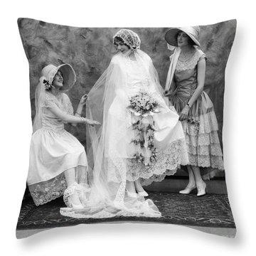 Bride And Bridesmaids, C.1900-10s Throw Pillow