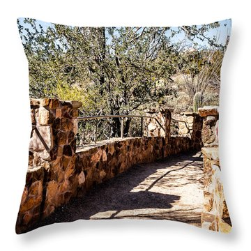 Bridge Over Desert Wash Throw Pillow by Lawrence Burry