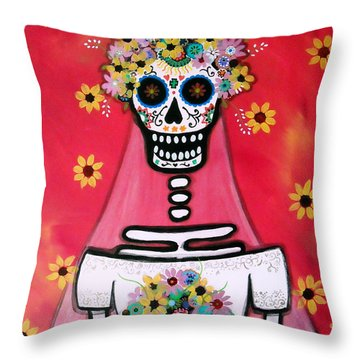 Throw Pillow featuring the painting Bridezilla Dia De Los Muertos by Pristine Cartera Turkus