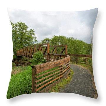 Bridge Along Lewis And Clark Hiking Trail  Throw Pillow