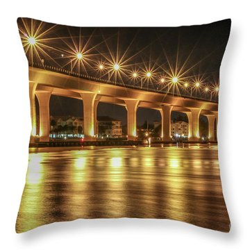Throw Pillow featuring the photograph Bridge And Golden Water by Tom Claud