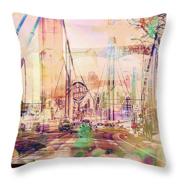Throw Pillow featuring the photograph Bridge And Grain Belt Beer Sign by Susan Stone