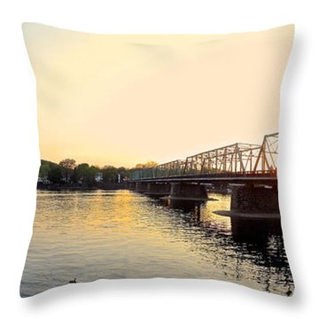 Bridge And New Hope At Sunset Throw Pillow