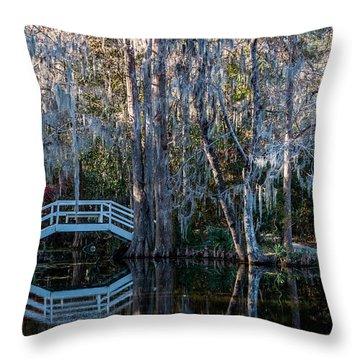 Bridge And Statue At Magnolia Plantation Gardens Throw Pillow