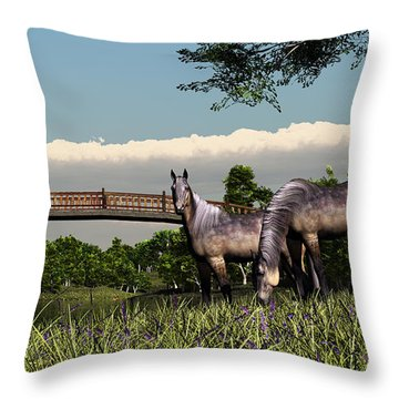 Bridge And Two Horses Throw Pillow