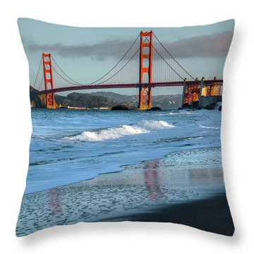 Bridge And Waves Throw Pillow