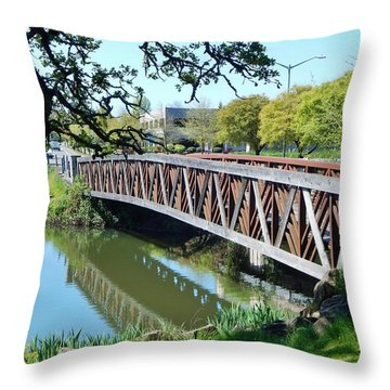 Bridge At Cox Creek Throw Pillow