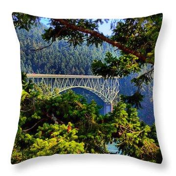 Bridge At Deception Pass Throw Pillow