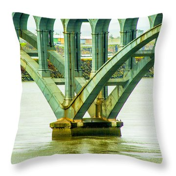 Bridge At Gold Beach Throw Pillow by Dale Stillman