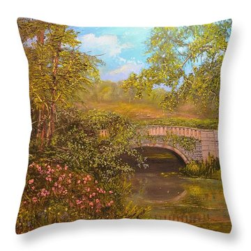 Bridge At Minterne Throw Pillow