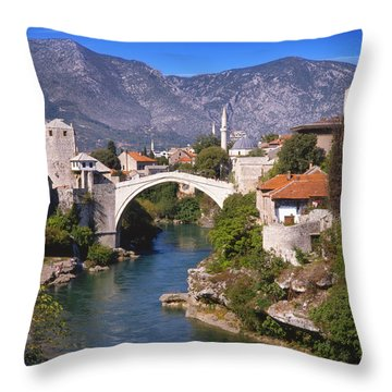 Bridge At Mostar  Throw Pillow