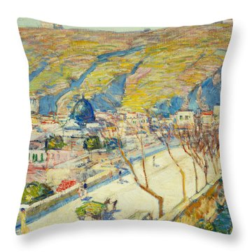 Bridge At Posilippo At Naples Throw Pillow by Childe Hassam