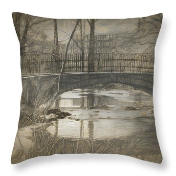 Bridge At The Fens Throw Pillow