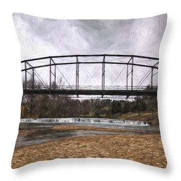 Bridge At The Mill Throw Pillow