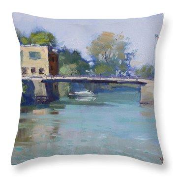Bridge At Tonawanda Canal Throw Pillow