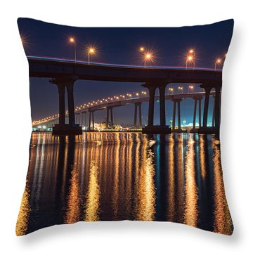 Throw Pillow featuring the photograph Bridge Bedazzled by Dan McGeorge