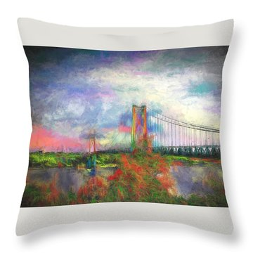 Throw Pillow featuring the digital art Bridge Blues by Terry Cork