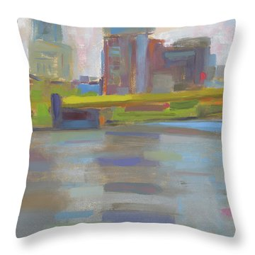Throw Pillow featuring the painting Bridge by Chris N Rohrbach