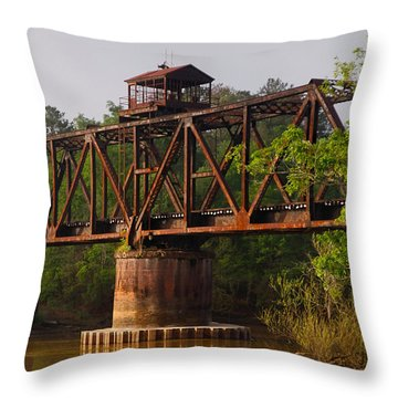 Throw Pillow featuring the photograph Bridge Control Box by Laura Ragland