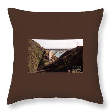 Bridge Highway 1 Coastal Road Throw Pillow