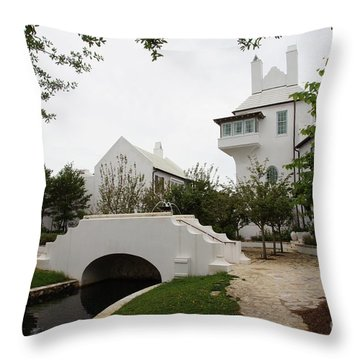 Bridge In Alys Beach Throw Pillow by Megan Cohen