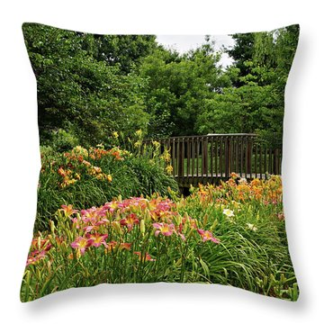 Throw Pillow featuring the photograph Bridge In Daylily Garden by Sandy Keeton