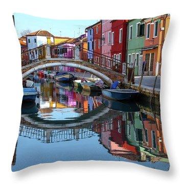 Bridge In Burano  Throw Pillow