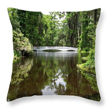 Bridge In The Garden Throw Pillow