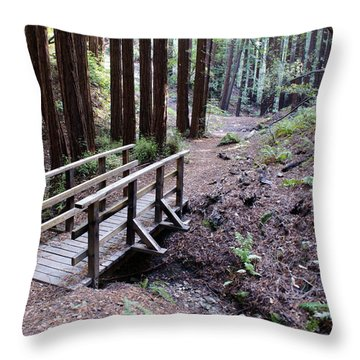 Bridge In The Redwoods Throw Pillow
