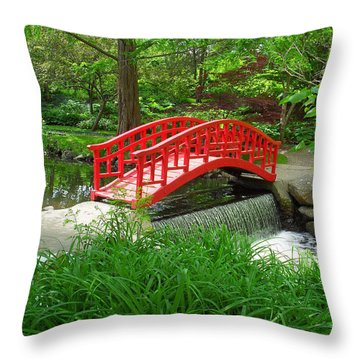 Throw Pillow featuring the photograph Bridge In The Woods by Rodney Campbell