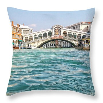 Throw Pillow featuring the photograph Bridge In Venice by Roberta Byram