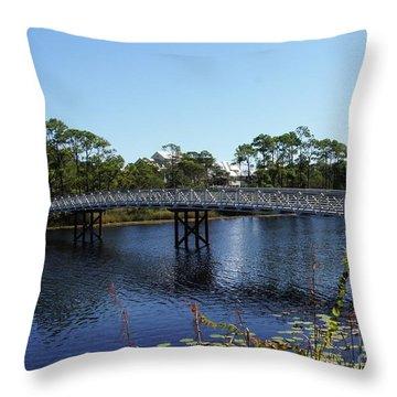 Western Lake Bridge Throw Pillow