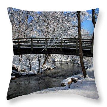 Bridge In Winter Throw Pillow