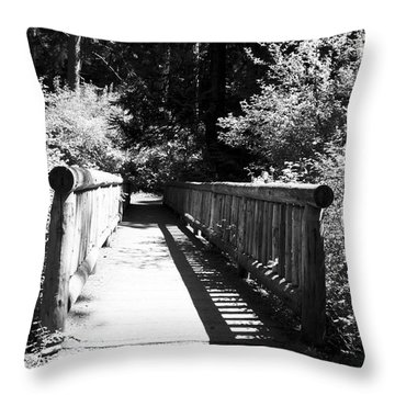 Throw Pillow featuring the photograph Bridge In Woods by Yulia Kazansky