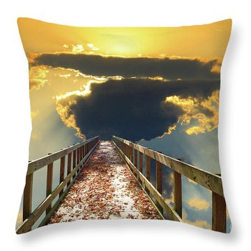 Bridge Into Sunset Throw Pillow by Inspirational Photo Creations Audrey Woods