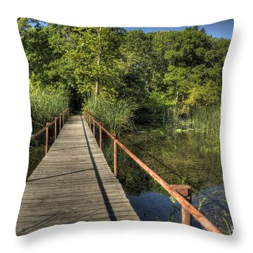 Throw Pillow featuring the photograph Bridge Into The Forest At Lake Murray by Tamyra Ayles