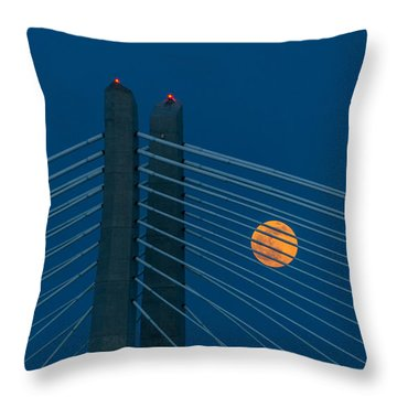 Throw Pillow featuring the photograph Bridge Moon by Jerry Cahill