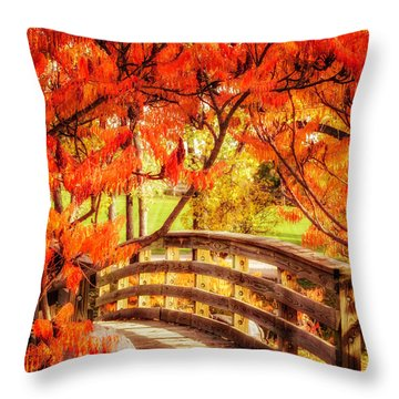 Throw Pillow featuring the photograph Bridge Of Fall by Kristal Kraft