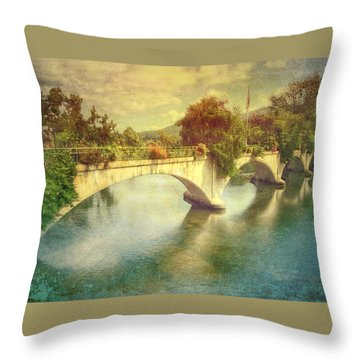 Bridge Of Flowers  Throw Pillow
