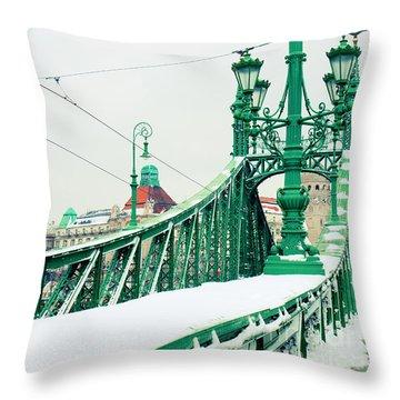 Bridge Of Liberty In Budapest Throw Pillow